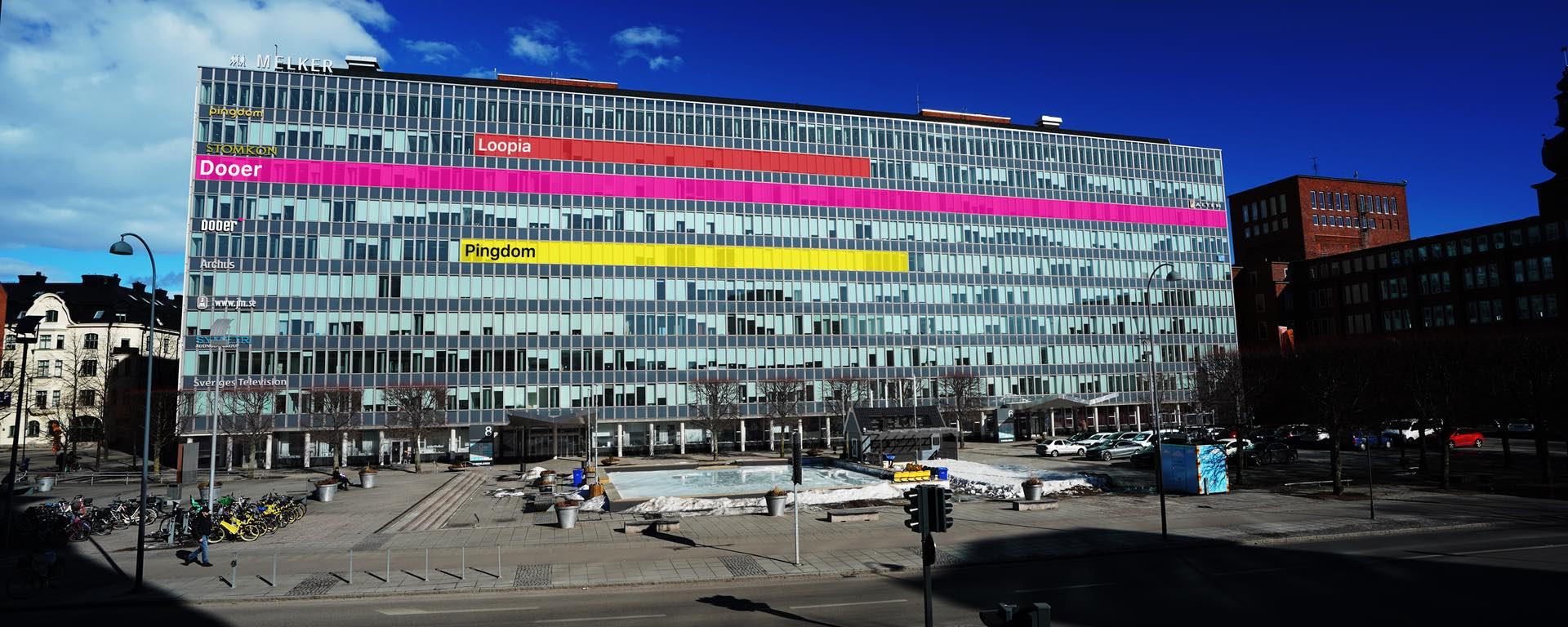Melkerhuset i Västerås med utmarkerade kontor för Loopia, Pingdom och Dooer.
